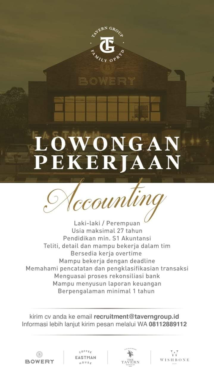 TAVERN Group Semarang Membuka Lowongan Kerja Sebagai Accounting