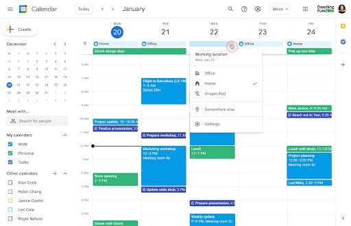 Agenda exibindo uma semana com diferentes locais de trabalho listados na parte superior de cada dia