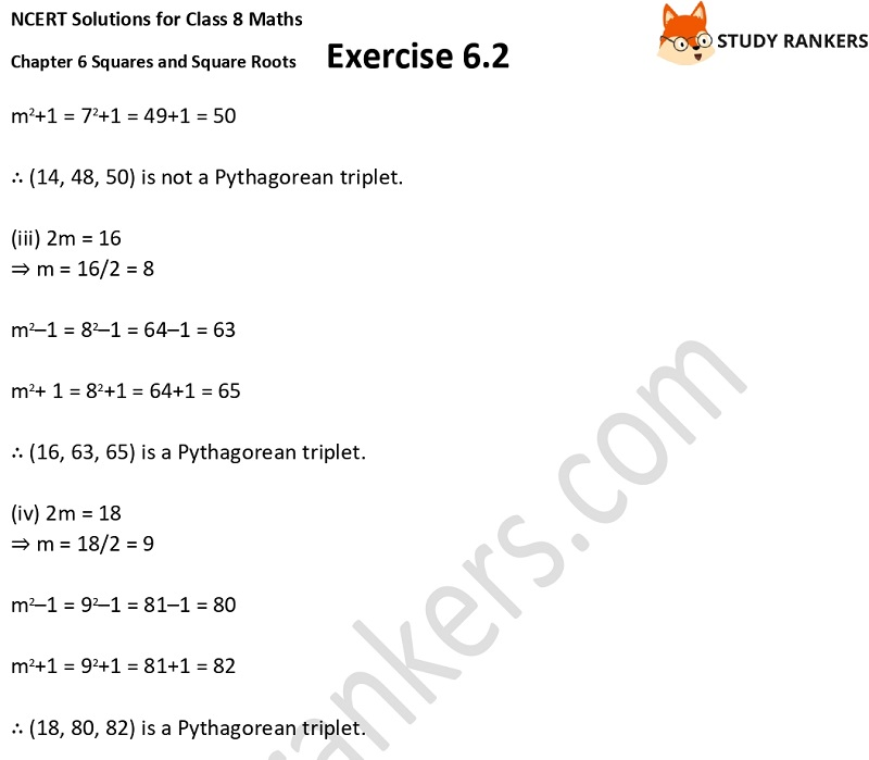 NCERT Solutions for Class 8 Maths Ch 6 Squares and Square Roots Exercise 6.2 3