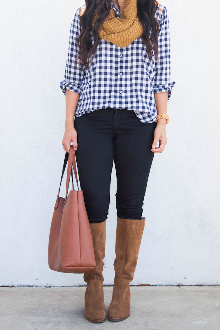 Gingham Button up + Mustard Scarf + Black Skinnies + Riding Boots