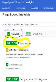Skor kecepatan ketika di uji dengan PageSpeed Google Tools versi Selular (98 dari maksimal 100)