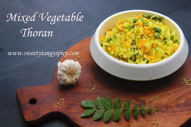 Mixed Vegetable Thoran Recipe | Carrot Beans Cabbage Thoran | Kerala Mixed Vegetable Thoran With Cabbage, Carrots and Beans | How To Make Kerala Thoran