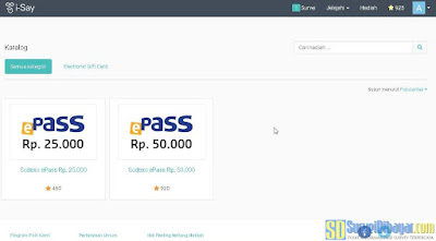 Menu penukaran hadiah pada survey online I-Say Indonesia | SurveiDibayar.com