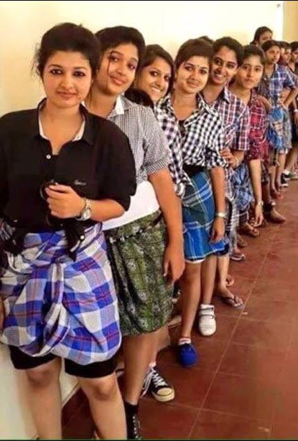 Congratulations are pouring in for a group of Kerala girls, who have reportedly protested  against a ban on wearing jeans in their Thiruvananthapuram college.  Given the conservative colleges in Kerala, which frequently make odd-ball restrictions,  the story is convincing and the photo has gone viral.  The photo is real, but the story is fake.