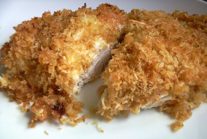 Sliced Honey Panko Crusted Chicken with Gruyère and Ricotta