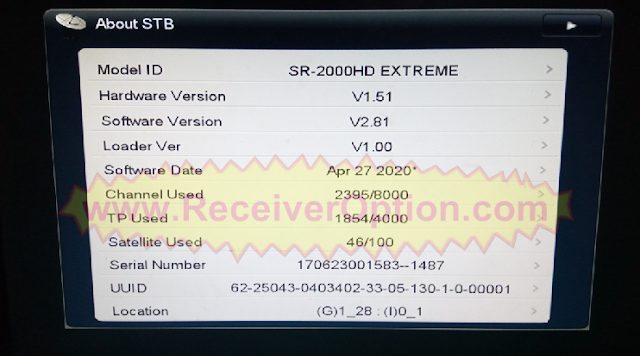 STARSAT SR-2000HD EXTREME RECEIVER NEW SOFTWARE V2.81