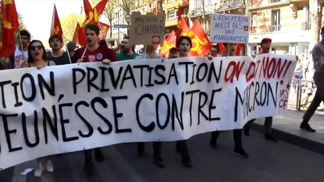 Trabajadores franceses se manifiestan contra reformas de Macron