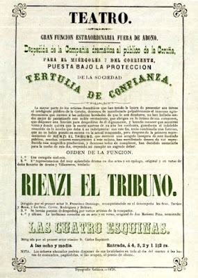 Cartel del estreno de Rienzi el tribuno en La Coruña. Archivo Rosario de Acuña, Biblioteca Historica Municipal de Madrid