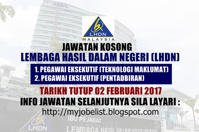 Jawatan Kosong Terkini di LHDN Februari 2017