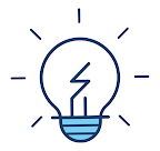 Blue light bulb icon - effective reading guide for kids