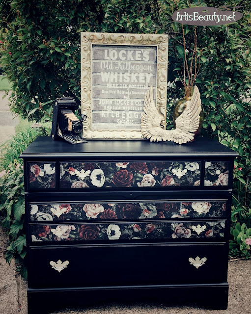 Vintage maple dresser turned romantic vintage Floral  color transfers and general finishes lamp black milk paint