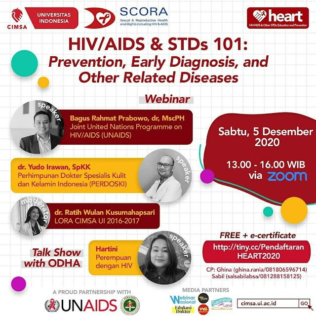 WEBINAR HIV/AIDS & STDs 101: Prevention, Early Diagnosis, and Other Related Diseases    Sabtu, 5 Desember 2020