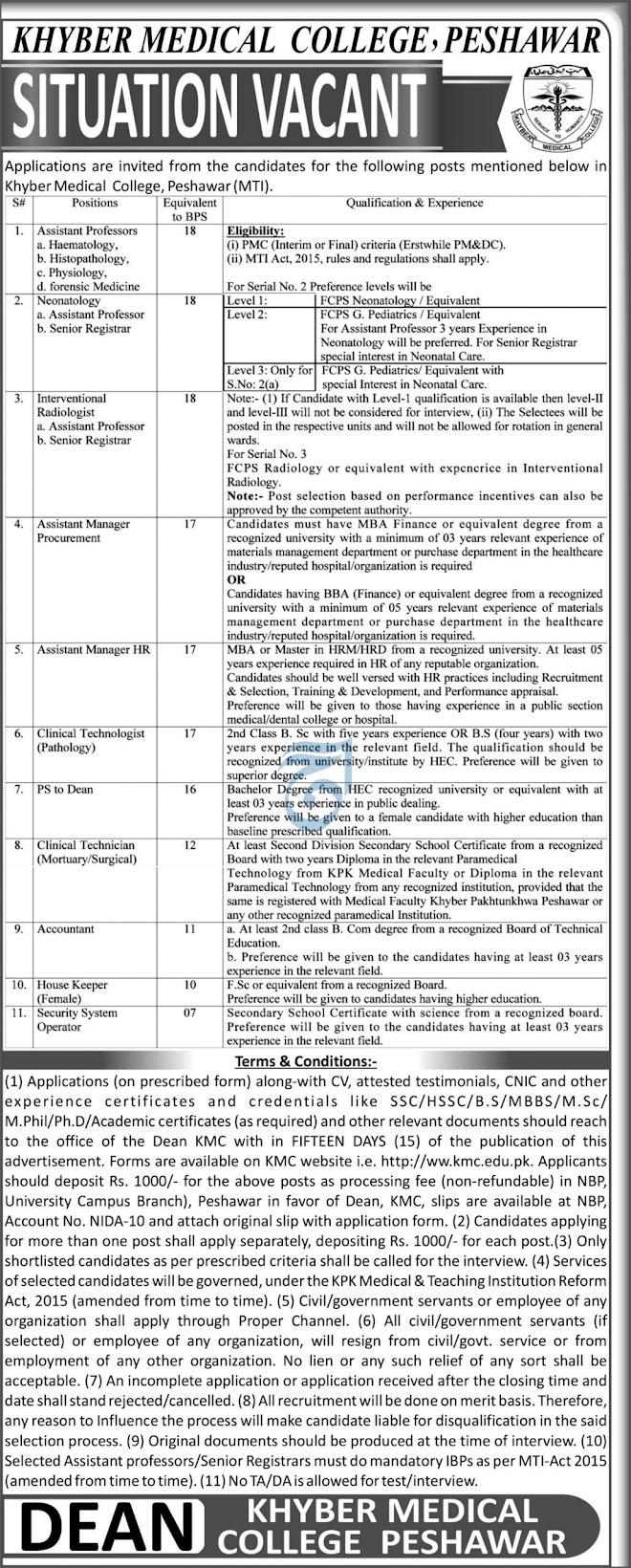 Khyber Medical College KMC Jobs 2021 Peshawar Advertisement