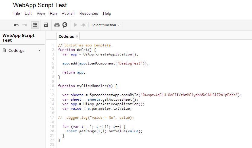 Sidesways Google Apps Script Web App With Spreadsheet