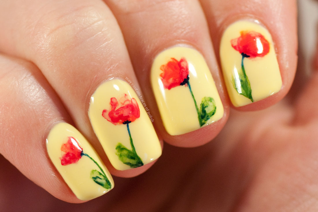 Watercolour Poppy Nail Art Pink Gellac Juicy Yellow 213