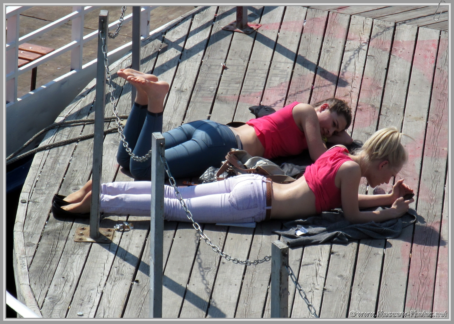 You can hardly get a tan in clothes, although on the pier