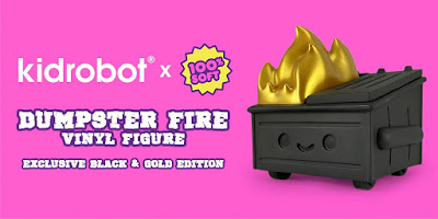Kidrobot Exclusive Dumpster Fire Black & Gold Edition Vinyl Figure by 100% Soft