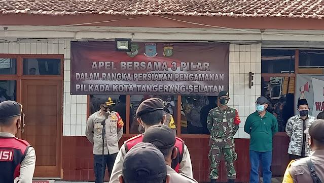 Polsek Ciputat Timur Gelar Apel Pengamanan Jelang Pilkada Bersama Tiga Pilar