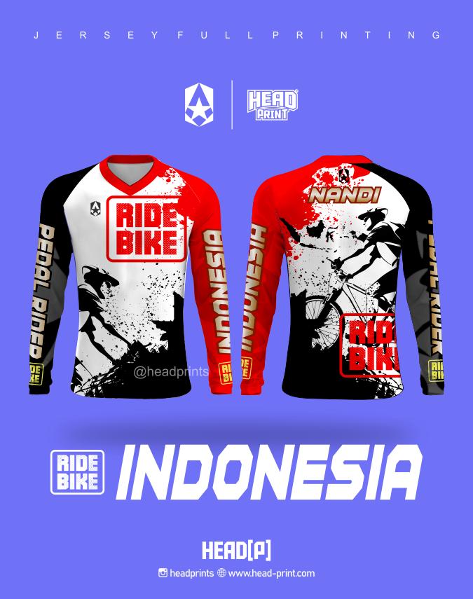 Ride Bike Indonesia Jersey Custom Full Printing - Jersey Satuan Printing Jogja