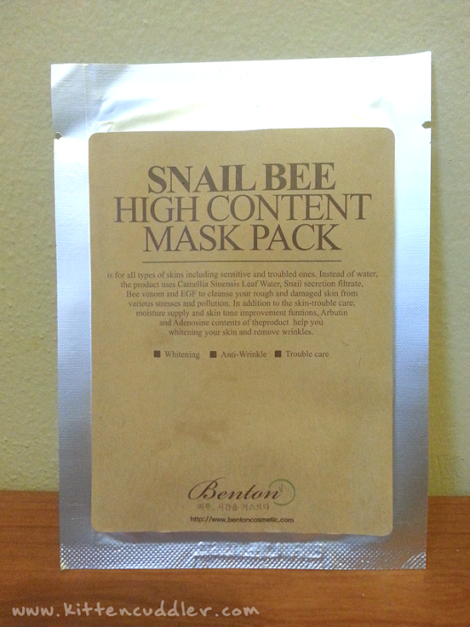 Benton Snail Bee High Content Mask Pack Review (Benton Review Series #3)