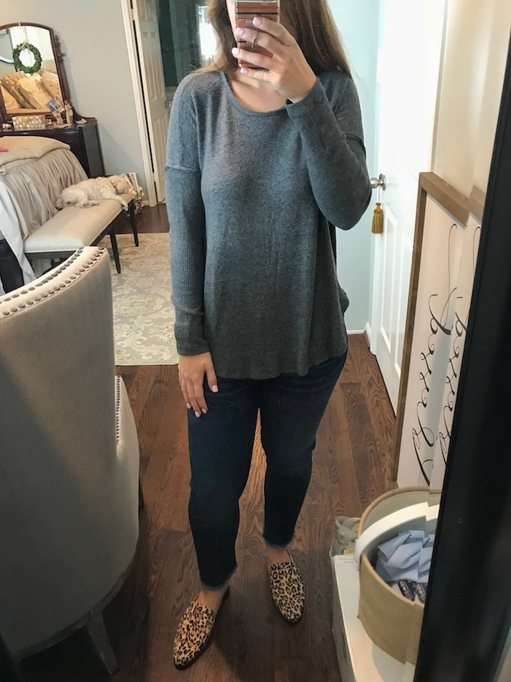 gray fuzzy top