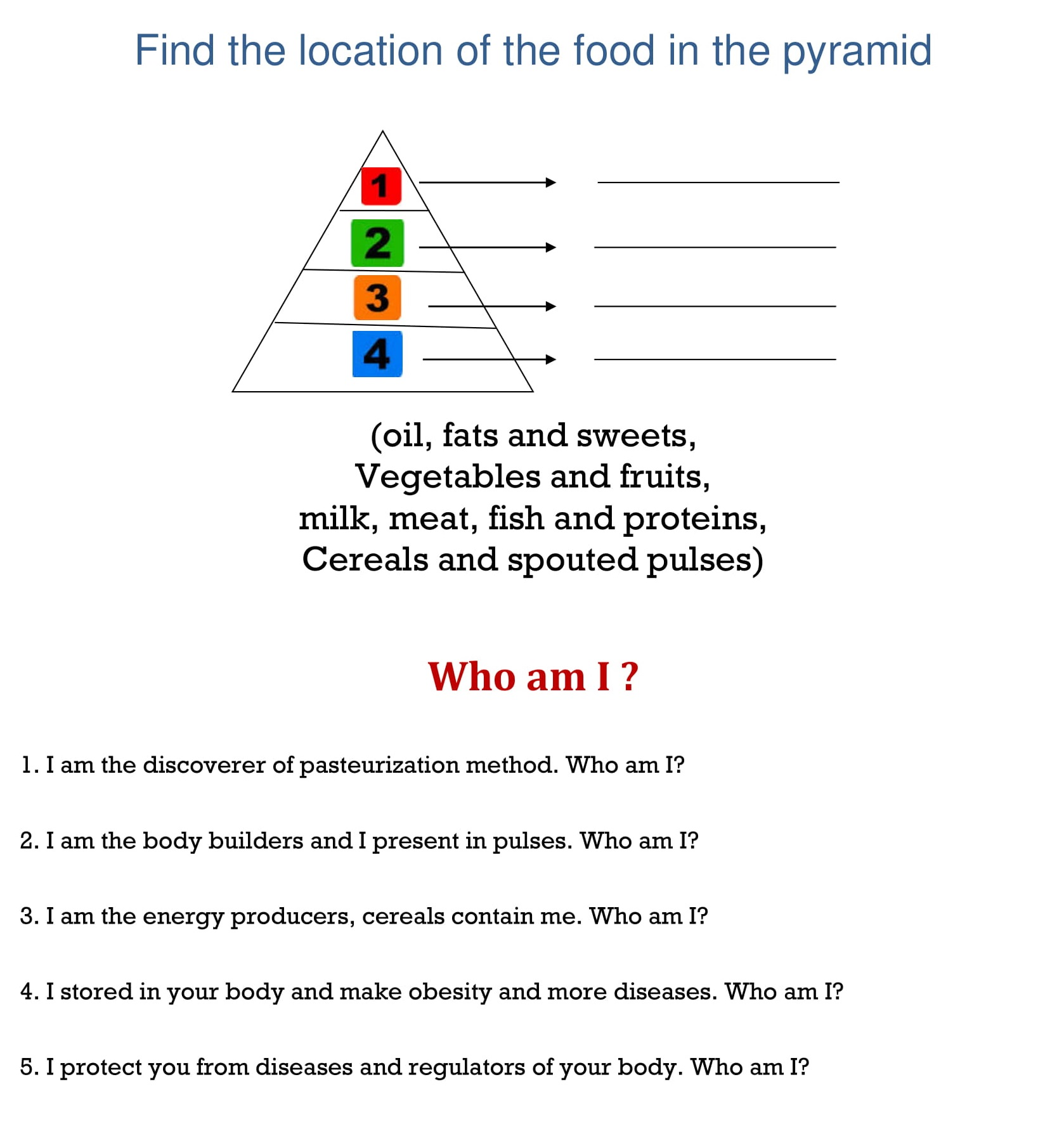 Worksheets Find The Location Of The Food In The Pyramid