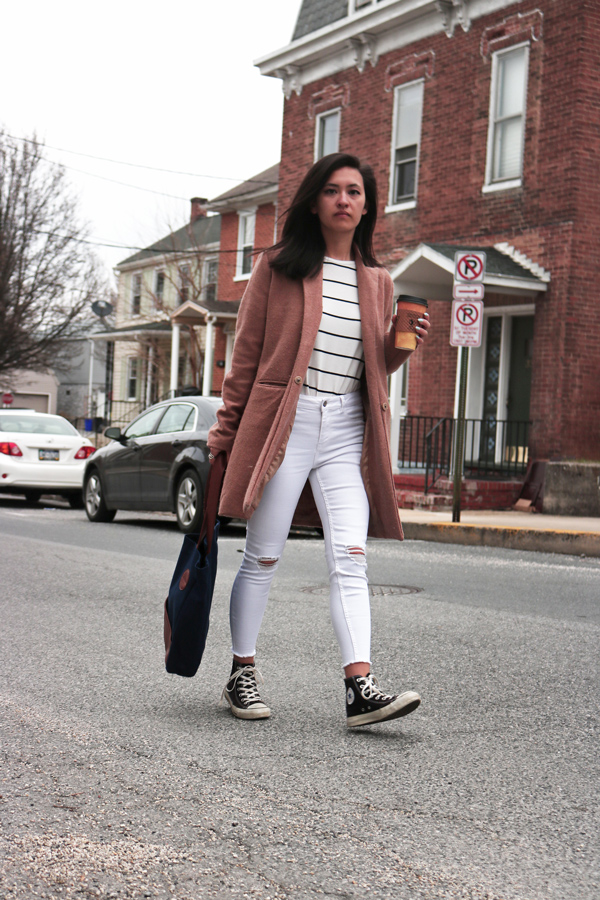 All White Outfit, Camel Coat, Tote Bag