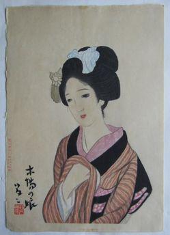 竹久夢二 女十題 木場の娘の木版画販売買取ぎゃらりーおおのです。愛知県名古屋市にある木版画専門店