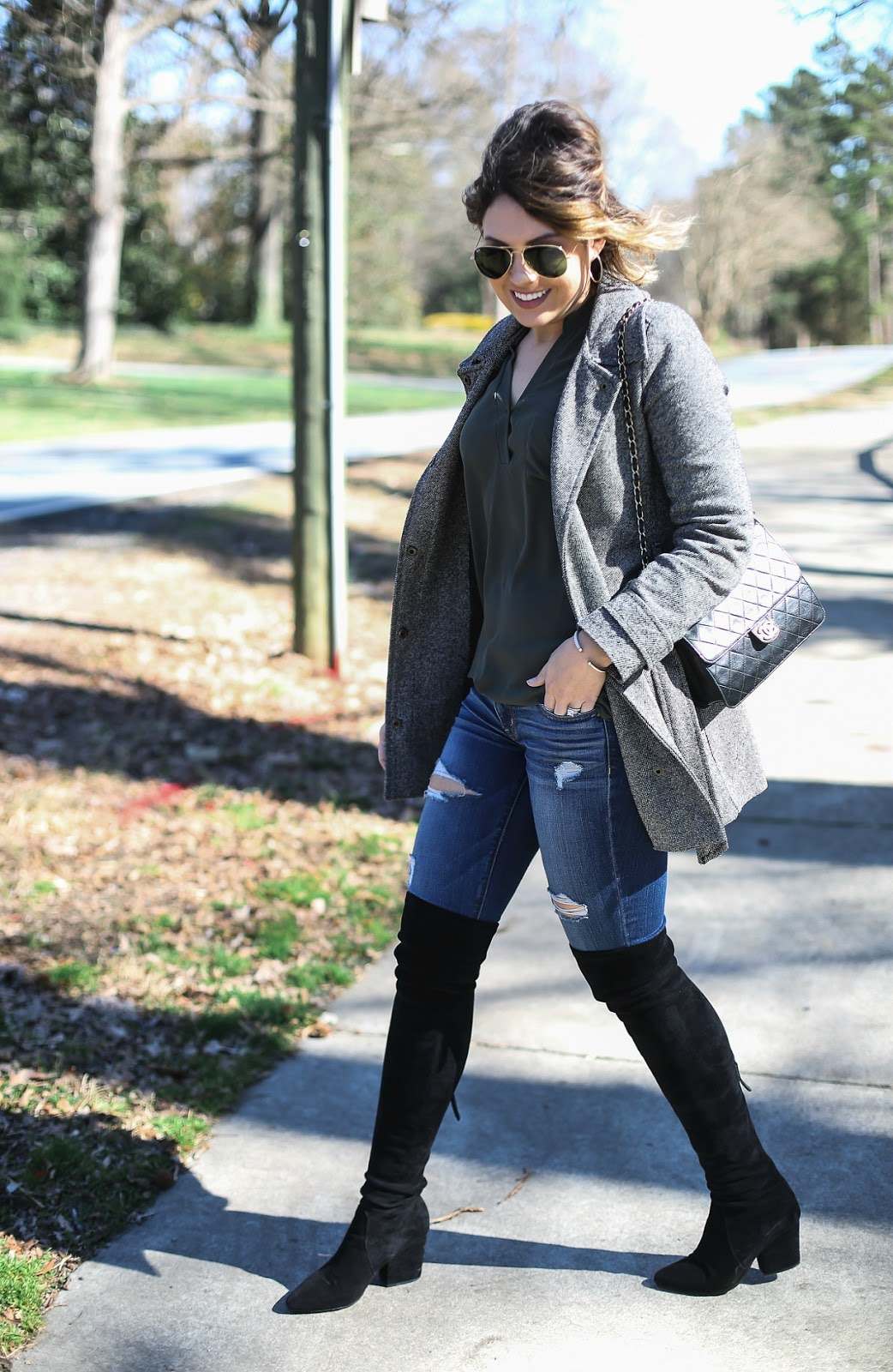 nordstrom lush tunic, blonde salade, over the knee boots