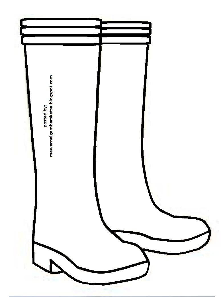 Mewarnai Gambar Mewarnai Gambar Sketsa Sepatu Boot