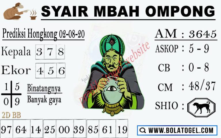 syair hk mbah ompong 2 agustus 2020