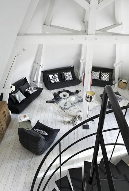 Noir Blanc Un Style Duplex En Attique Tout En Blanc Et Noir