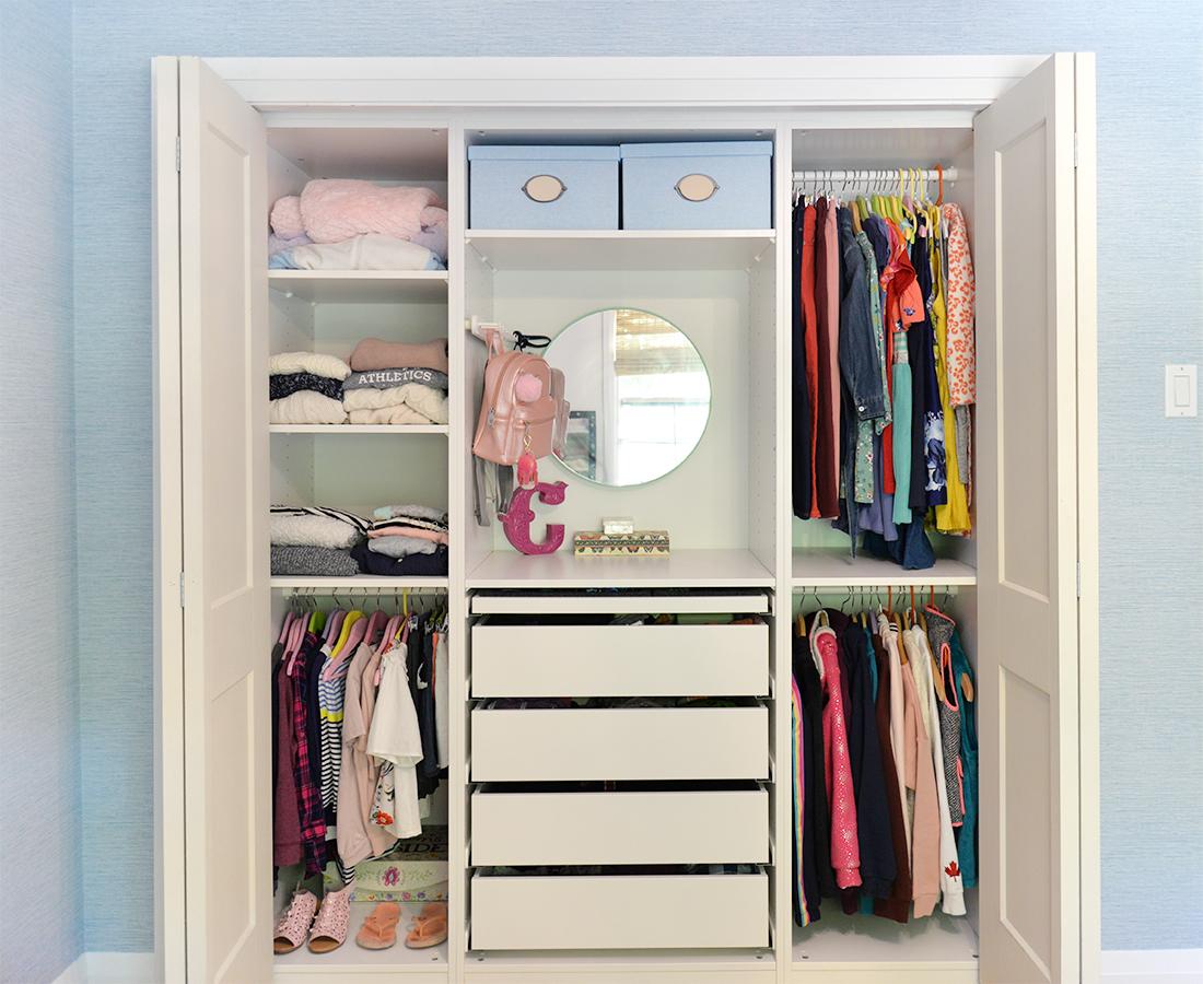 kids closet organization ideas, kid friendly closet organization, girls closet ideas, tween closet, IKEA Pax closet
