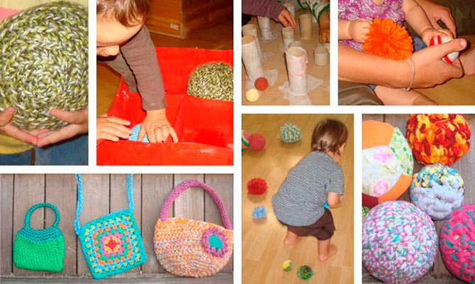 Pelotas, bolsos y juguetes, materiales didacticos hechos en ganchillo