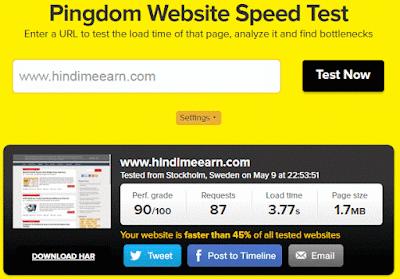 Pindgdom Webiste page tester