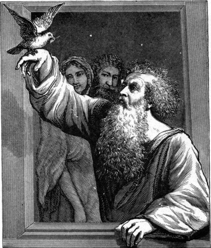 Noé recibiendo a la paloma con la rama de olivo. Ilustración de Charles Foster (1897)