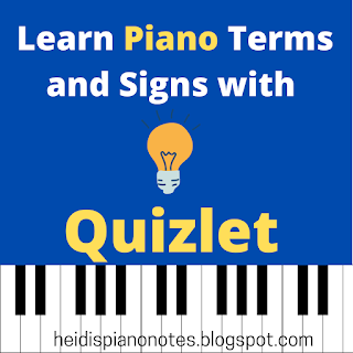 Learn Piano Terms and Signs with Quizlet, heidispianonotes.blogspot.com, #Music Theory, #Teach Piano Theory
