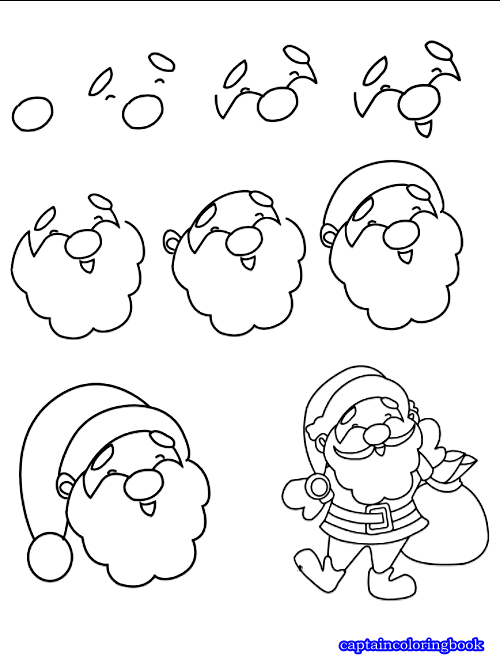 how to draw a super simple santa claus step by step