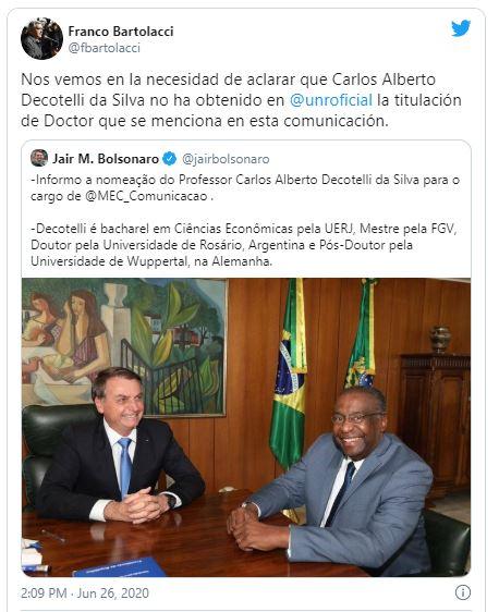 Faculdade de Ciências Econômicas na Universidade do Rosário nega doutorado de Ministro da Educação