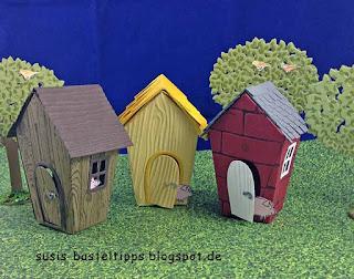 Stampin up Miniatur märchenlandschaft mit den drei kleinen Schweinchen