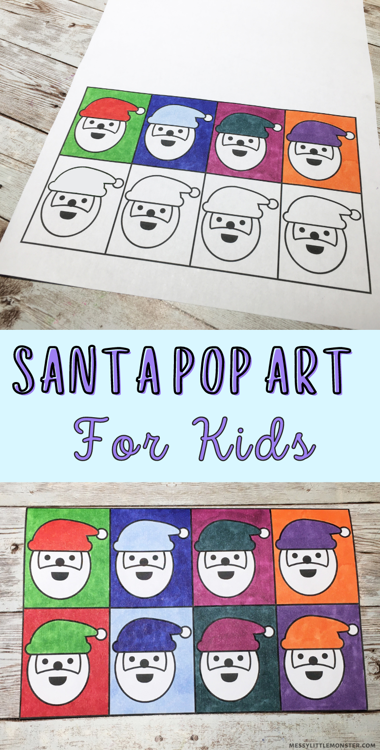 Santa pop art for kids. Andy Warhol inspired Christmas art project. Santa craft.