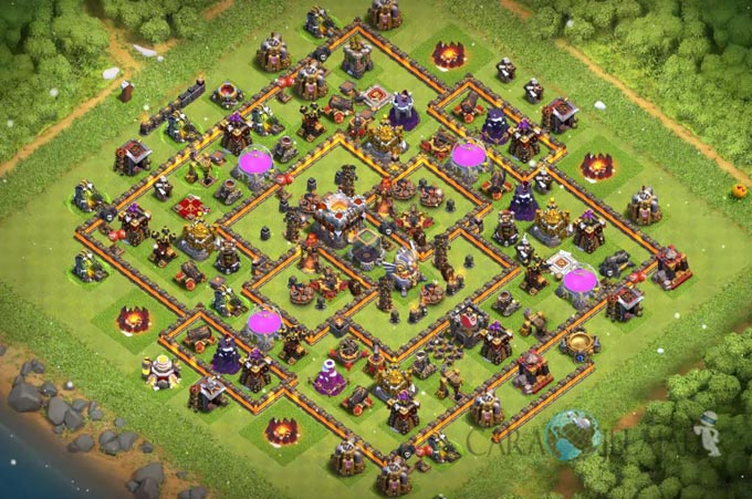 Base Hybrid TH 11 COC Update Bomb Tower Terbaru 2017 Tipe 7
