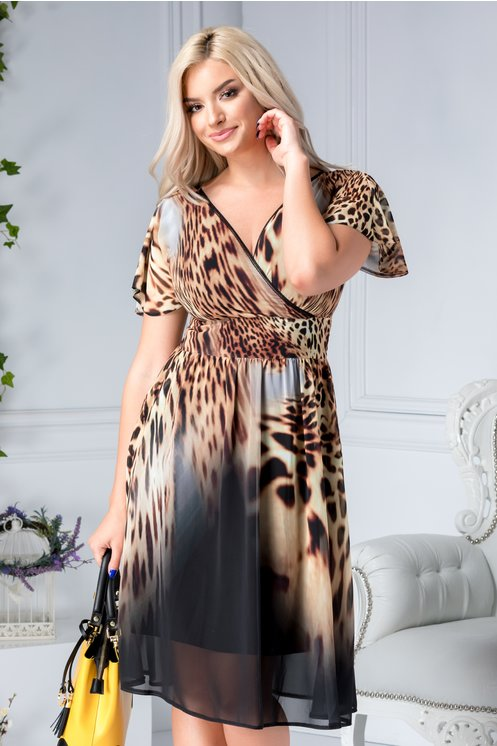 rochie midi de vara vaporoasa cu animal print eleganta