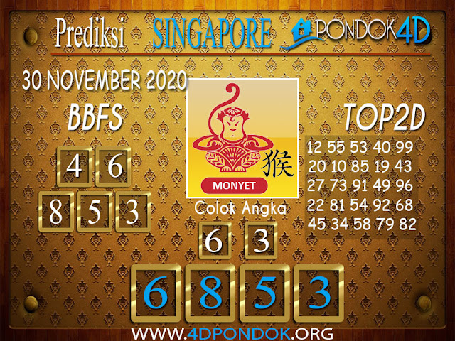Prediksi Togel SINGAPORE PONDOK4D 30 NOVEMBER 2020