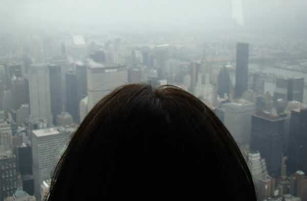 image of the back of my head, looking out at New York City from the top of the Empire State Building on a foggy day