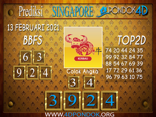 Prediksi Togel SINGAPORE PONDOK4D 13 FEBRUARI 2021