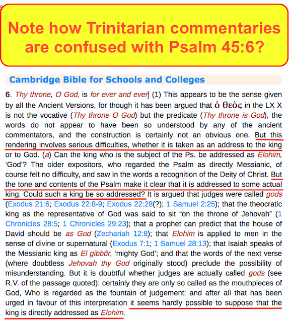 Hebrews 1:8. Yet again ANOTHER Trinitarian deception. Trinitarian commentaries are confused with Psalm 45:6?