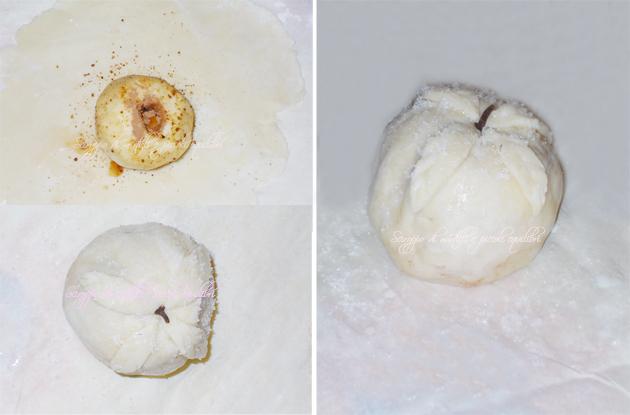 Fasi di preparazione della mela rivestita