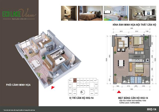 Thiết kế căn hộ 14 tòa HH-02 Eco Lake View