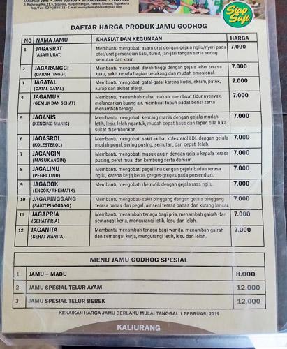 daftar harga jamu godhog herbal kaliurang jogja